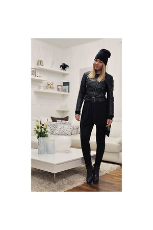 black Zara boots - black H&M hat - black H&M jacket - black H&M pants