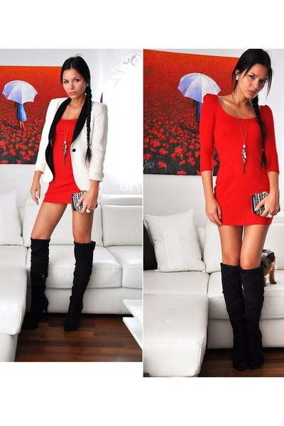 red H&M dress - black Bershka boots - white black and white Zara blazer