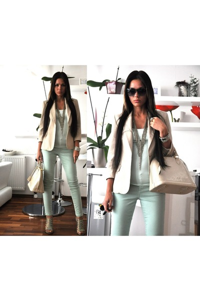 beige Zara blazer - cream Louis Vuitton bag - turquoise blue Claires sunglasses