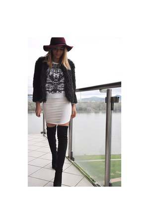cream H&M dress - black Bershka boots - maroon Zara hat