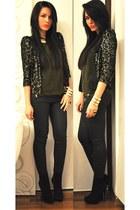 black Zara boots - black Zara blazer - black Zara pants