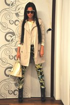 chartreuse Zara pants - navy Zara boots - beige trench coat Burberry coat