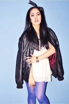 vintage leather jacket - kimono dress - tights