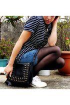 white Reebok shoes - black Stradivarious purse - black DIY t-shirt - blue DIY sh