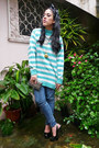 Aquamarine-vintage-stripes-sweater-silver-dior-purse