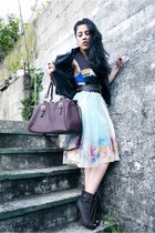 eggshell hand painted Ana Gonzlez skirt - dark gray activision vintage shirt