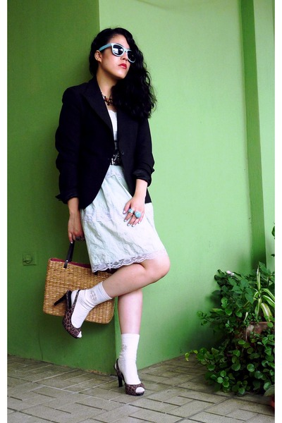 green dress - black blazer - gold Esprit accessories