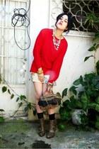 red Vintage  Liz Claiborne sweater - light orange dress - dark khaki Local store