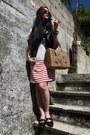 Ivory-shift-zara-dress-red-houndstooth-vintage-scarf