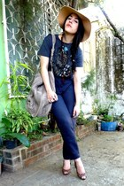 brown Payless shoes - oversized Zara bag - navy high waisted pants
