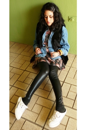 black I made it vest - black Zara leggings - white rebook shoes - black I made i