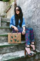 mustard basket Sprit bag - blue denim shirt vintage shirt