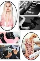 black book Alexander McQueen accessories - light pink printed Karen Walker dress
