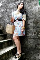 blue Zara dress - beige my design shoes - beige shirt - yellow Esprit