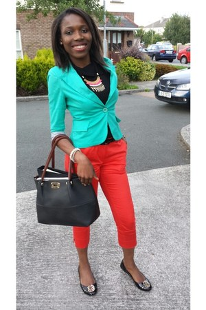 light blue Forever 21 blazer - red H&M pants - black Dunnes Store flats