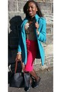 Turquoise-blue-very-nice-coat-next-coat-black-new-looke-boots-tan-next-shirt