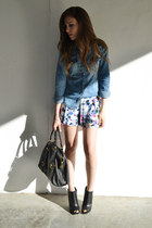 blue denim shirt Forever 21 shirt - floral shorts shorts