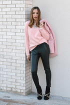 light pink Zara coat - black leather boots Zara boots