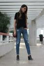 Black-zara-top-black-mules-pimkie-heels
