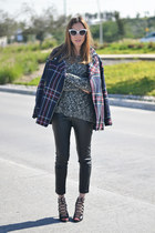 navy tartan pull&bear coat - dark gray knitted pull&bear sweater