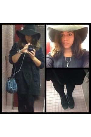 black xhilaration dress - black wide brim Charlotte Russe hat - black leggings