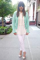 white Gap blouse - aquamarine Zara blazer - silver metallic Zara heels