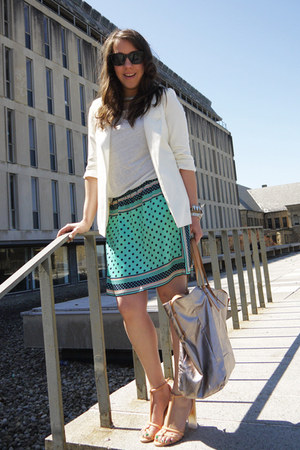 printed Zara skirt - silk Chicwish blazer - metallic Zara bag