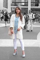 metallic Jil Sander heels - cut-out Zara coat