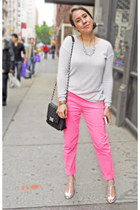 neon Gap pants - metallic Zara heels