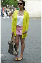 neon green Gap cardigan - gingham JCrew shorts - leather Zara flats