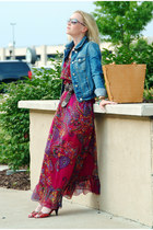magenta vintage dress - navy American Eagle jacket - tan Ripani bag