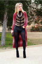 ruby red wool Forever 21 cardigan - black ankle boots BCBGeneration boots