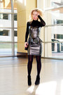 Black-faux-leather-hybridfashion-dress