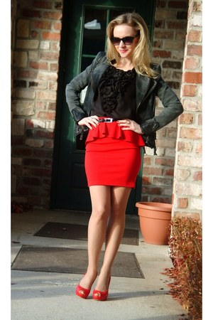 red Candies skirt - black CelebBoutique jacket - black Lo blouse