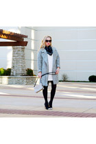 silver wool Forever 21 coat - white quilted Loft dress