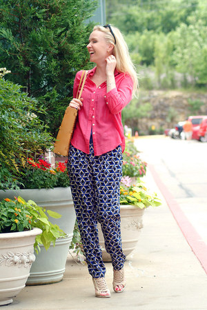 Mexx top - Ripani bag - Mexx blouse - sandals - Forever 21 pants