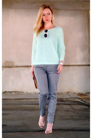 aquamarine H&M sweater - dark gray H&M pants - neutral Aldo heels