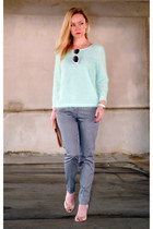 aquamarine H&M sweater - dark gray H&M pants - neutral Aldo heels