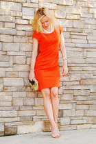 carrot orange banana republic dress - lime green vintage purse - nude Aldo heels