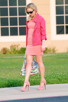 red vintage dress - red next jacket - red Jessica Simpson sandals