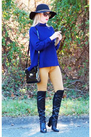navy Elie Tahari sweater - black gianni bini boots - mustard PacSun jeans