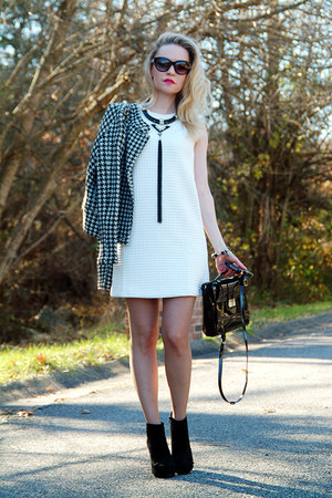 black suede BCBGeneration boots - white quilted Loft dress
