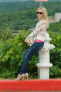 Tan-roxy-sweater-navy-hollister-jeans-hot-pink-express-top-beige-heels
