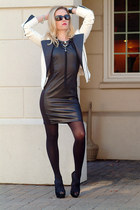black H&M dress - white Armani Exchange jacket - black Jessica Simpson heels