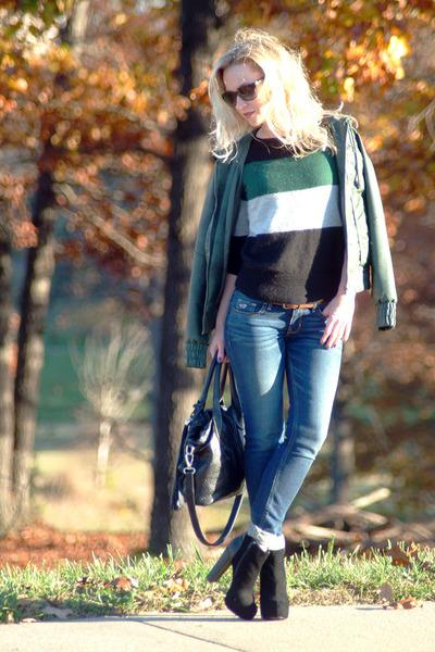 black BCBGeneration boots - navy hollister jeans - dark green vintage jacket