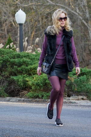 black fur vest Rachel Zoe vest - magenta turtleneck ann taylor sweater