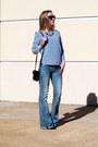 Sky-blue-flared-ralph-lauren-jeans-dark-gray-shoulder-bag-calvin-klein-bag