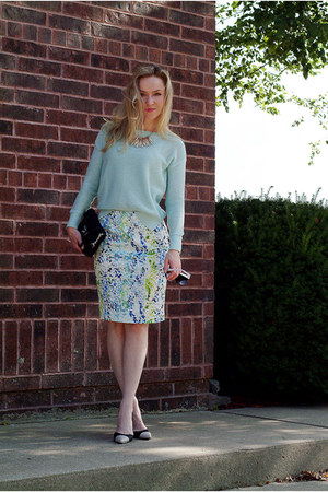 turquoise blue pencil skirt ann taylor skirt - light blue cotton Loft sweater