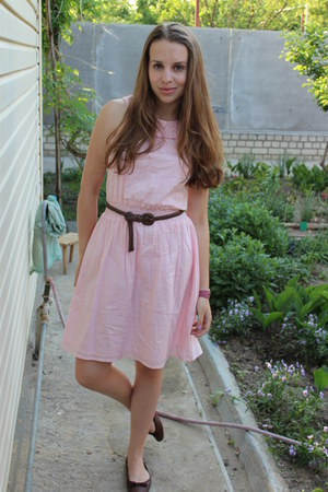 brown Zara shoes - light pink new look dress - pink Swatch watch