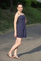 navy polka dots castro dress - dark brown Zara glasses